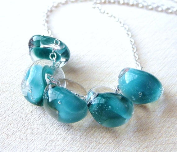 Aqua Teal Lampwork Necklace, Light Pastel Blue & Green Lampwork Glass Teadrops- Sterling Silver Necklace, Fashion