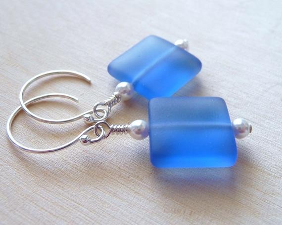 Blue Seaglass Earrings, Frosted Blue Sea Glass Earrings, Ocean Blue Square Sterling Silver Earrings, Under 20, Gifts For Women