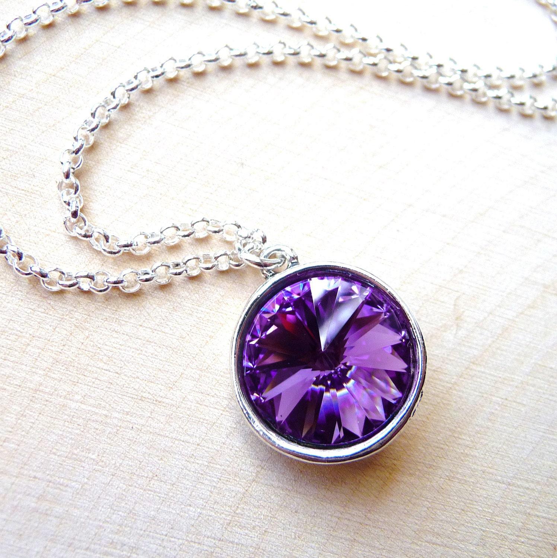 tanzanite purple pendant necklace swarovski by