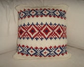 """Hand Knit Pillow in Red, Blue Cream Rustic Decor Hostess Gift, Mom Gift, Mothers day gift idea 13"""" X 13"""""""