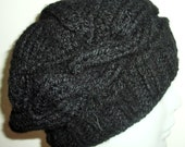 Winter Womens Hat in Black Hat Cable Knit Hat Beret Beanie gift under 20 dollar