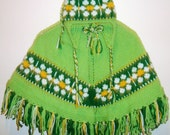 Daisy Girls Poncho with Hat Hand Knit 3T to 5T Girls Poncho Green Yellow White Daisies Easter Birthday Gifts for Girls