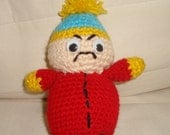 South Park Actor Eric, Crochet Eco Toys in Red Blue Yellow - easter gifts for kids