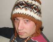 Wool Men's Hat Winter Hat with Earflap in Brown, Black, Cream Hand Knit Hat for mens hat