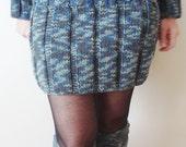 Winter Teen Mini Skirt Hand Knit Skirt - Blue Grey Green - Office Fashion - Winter Women Clothing - Wool Skirt
