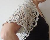 Crochet Bolero Shrug in cream, yellow, grey - Crochet Woman Wedding Bridal Accessory - Size Small Bolero shrug