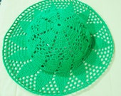 Womens summer hat in Green hat, crochet woman hat summer, boho brim
