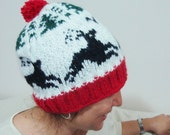 Knit Womens pom pom hat in white, red, green, black deer hat vintage style winter accessories winter hat sky hat