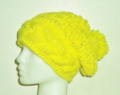 Hand Knit Hat, Womens Hat, Slouchy Hat, Yellow Hat, Woman Hat
