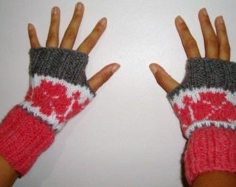Hand knit fingerless gloves in  Light Grey Salmon White, Womens fingerless gloves, fair isle knit, womens gift under 10