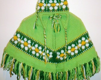 Ready-to-ship, girls poncho, Daisy girls poncho with hat, spring girls clothes, hand knit poncho with hat
