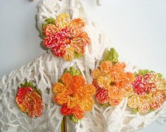 Motif crochet scarf orange flower scarf - cream - autumn - womens scarves