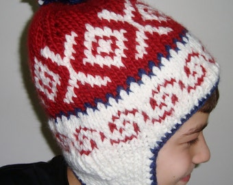 Earflap Winter Knit Hat with Ear flap and pom for Womens Hat in Red Cream Blue