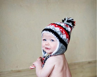 Hand Knit Hat Baby Hat Earflap Beanie Hat - black, red, white, gray  - WINTER SALE
