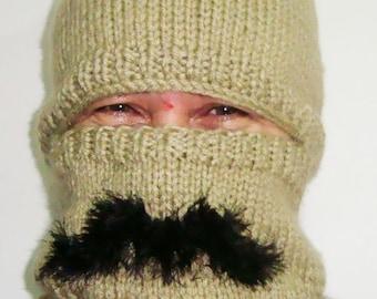 Mustache, full face mask, Hat, Full Face Hat, Mens Gift, Winter Hat, Hand Knit Hat, Mustache hat, Beige Ski hat, Big Hats, hunter gifts men