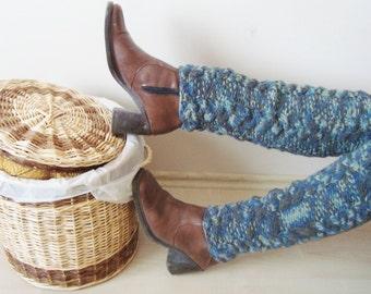Knit Womens LEG WARMERS women, teen girl Legwarmer, knitted boot socks, Blue Grey Green, Winter Accessories, christmas sale