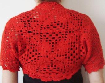 Spring wedding accessories red crochet bolero shrug bride bridesmaids gift red wedding red bolero shrug