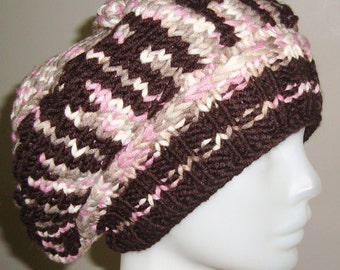 Hand knit hat woman slouch slouchy hat Gamma phi hat Personalized hat-girlfriend gift