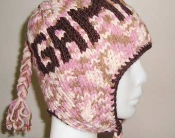 Gamma Phi Personalized Womens Hat with Ear Flap Beanie Hat Brown, Pink, Cream