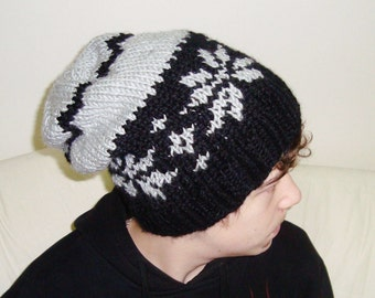 Hand Knit hat man hat Black gray slouch knit Hat Beanie hat - ready to ship