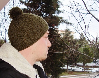 Hand Knit Beanie, Mens Beanie in Military Green Winter Man Fashion Accessories - MENS GIFT