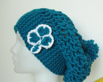 Teal Womens Slouchy Beanie with clover St Patricks Day Gifts