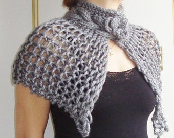 Grey wedding shawl grey shawl hand knit shawl grey capelet wedding capelet shawl