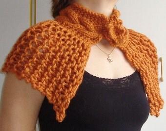 Hand Knit Shawl Womens Shawl in Copper, Burnt Orange, Rust Capelet Shawl  - WINTER SALE