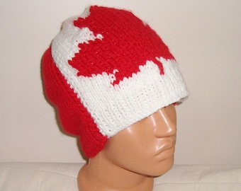 Canadian Flag Beanie Hat for Mens Winter Hat Beanie Canada Flag Canadian - hand knit hat - canadian mens gift ideas