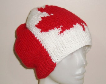 Canadian Flag Hat, Knit Hat Women's Hat, Winter hat, Women's Accessories, White hat with Red Maple Leaf