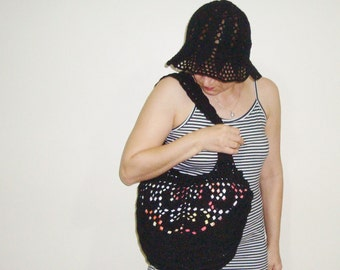 Crochet beach bag black summer bag beach tote bag black