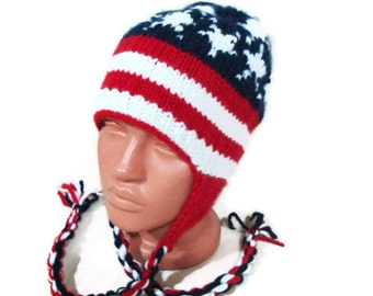 Hand knit hat - American Flag hat in Red White Blue with earflaps, ear flap hat