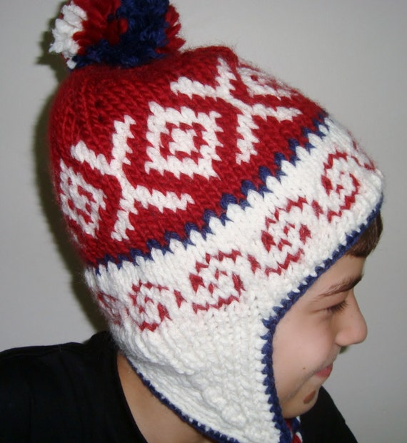 Knitting Pattern Ladies Hat With Ear Flaps : Earflap Winter Knit Hat with Ear flap and pom for by ...
