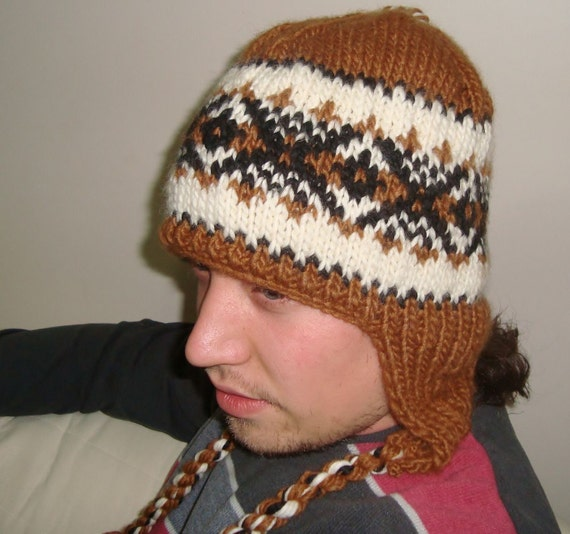 Hand Knitted Hat Patterns : Hand knit hat Cinnamon hat earflap hat wool mens by earflaphats
