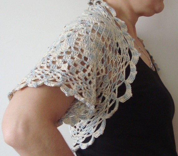 Crochet Bolero Shrug in cream, yellow, grey - Crochet Woman Wedding Bridal Accessory - Size Small Bolero shrug
