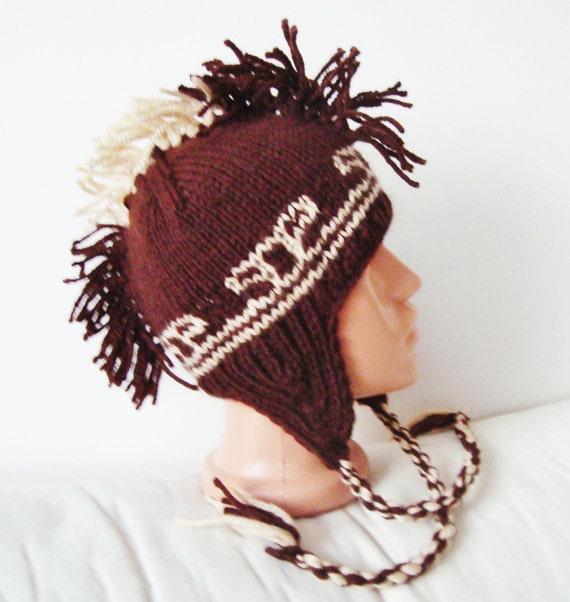 Hand Knit Hat Teen Mens Hat Mohawk Hat with Earflap in Brown Beige  - WINTER SALE