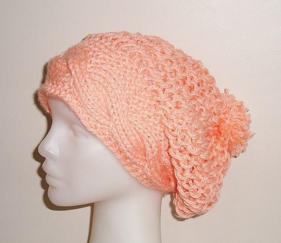 Peach Slouchy Knit Hat Woman Hat in apricot, peach orange