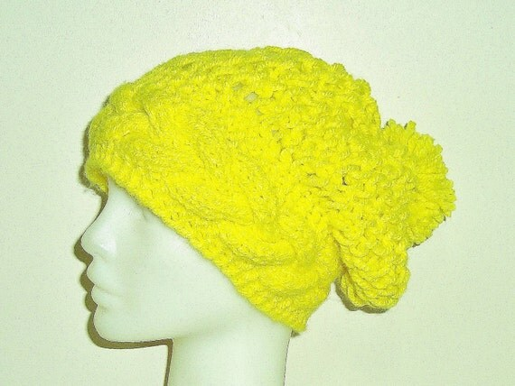Bright Yellow Knitted Slouch Beanie // Yellow// Lemon Yellow Accessories // Fall Knit Hat// Fall accessories