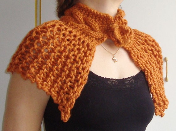 Hand Knit Shawl Womens Shawl in Copper, Burnt Orange, Rust Capelet Shawl  - WINTER SALE