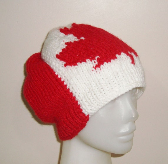 Canadian Flag Hat for womens hat Canada. Canadian maple leaf hand knit hat, knit canada flag