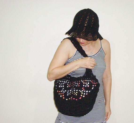 SUMMER BLACK BAG , Black Heart Design Black Crochet Bag Summer Fashion Accessories
