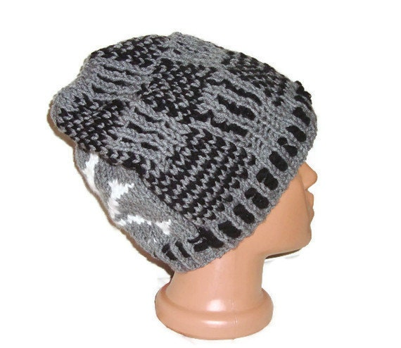 Skull Hippie Hat Ouirky Knitted Skull Hat Pirate hat for Mens Beanie Mens Hat gray black white halloween odd gifts