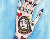 The Gambler ACEO Tattooed Lady Hand