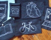 Choose your own embroidered patch - white embroidery on black repurposed pants