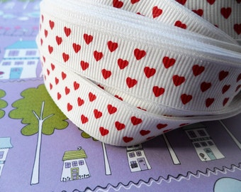 1 1/2 Yards- Red Hearts Grosgrain Ribbon- 5/8""