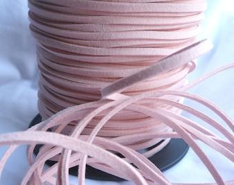 5 Yards- Pastel Pink Suede Cord