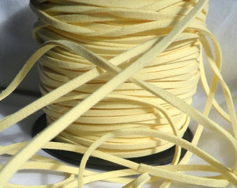 5 Yards- Pastel Yellow Suede Cord