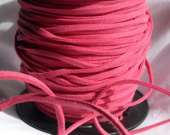 3 Yards- Hot Pink Suede Cord