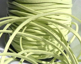 3 Yards- Pastel Green Suede Cord