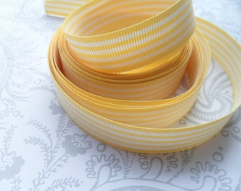2 Yards- Yellow Stripes Grosgrain Ribbon- 5/8""